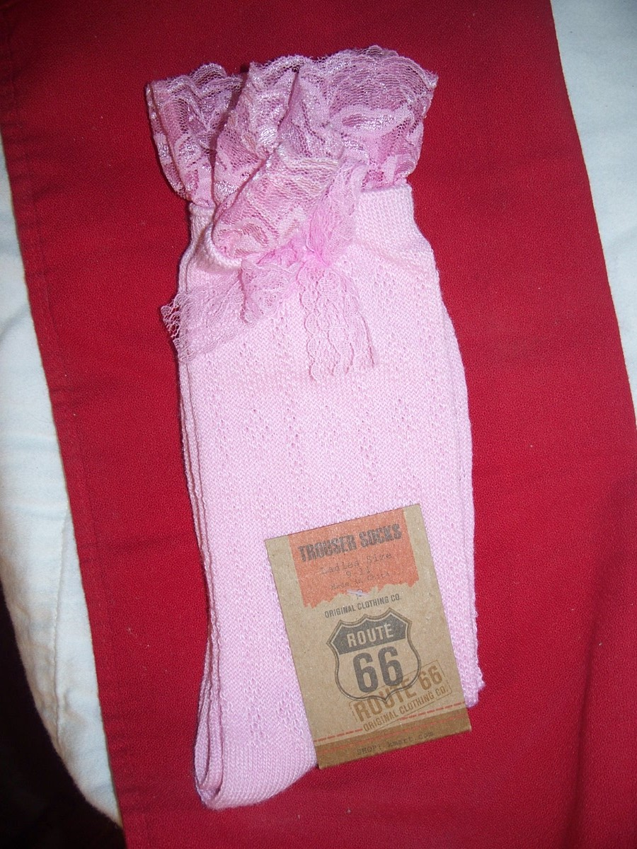 Route 66 Trouser Socks SZ 9-11 Pink with Bow & Lace