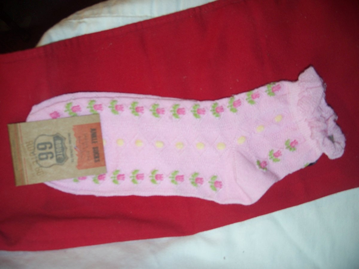 Route 66 Ankle Socks SZ9-11(Pink with Flower Yellow Dots