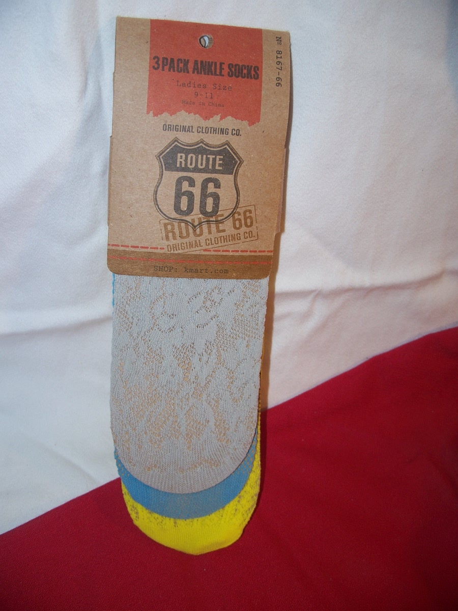 Route 66 3 Pack Ankle Socks Ladies 9-11(Gray,Blue,Yellow)