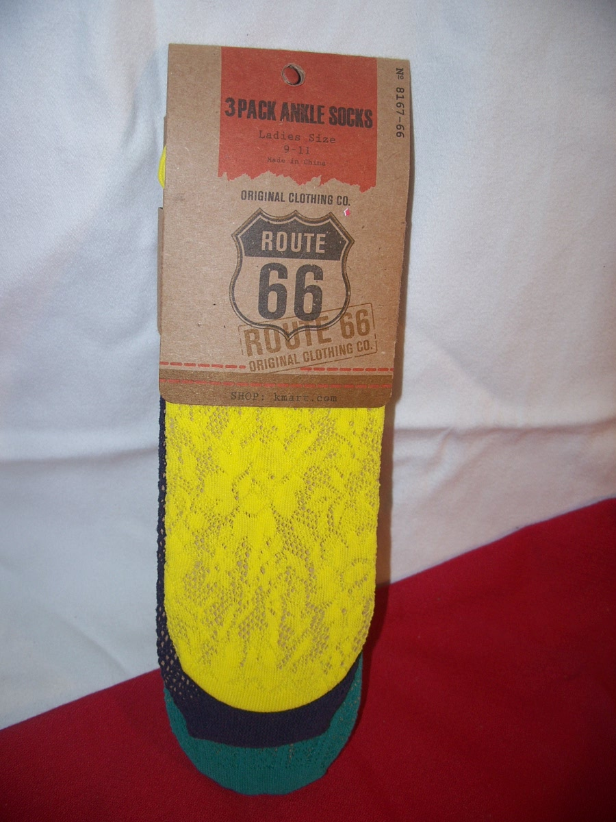 Route 66 3pack Ankle Socks SZ9-11(Yellow,Blue,Green)