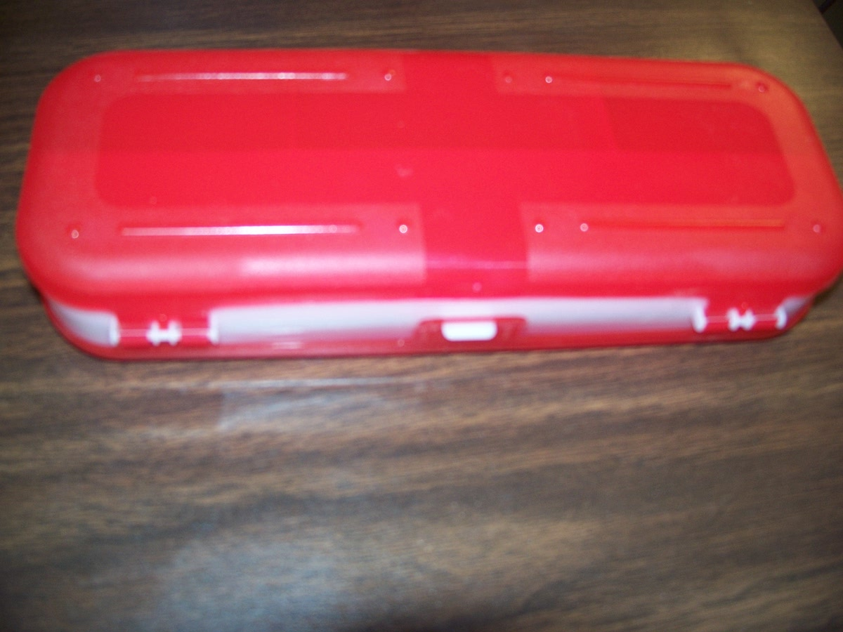 2 Side Pencil Case (red & white )