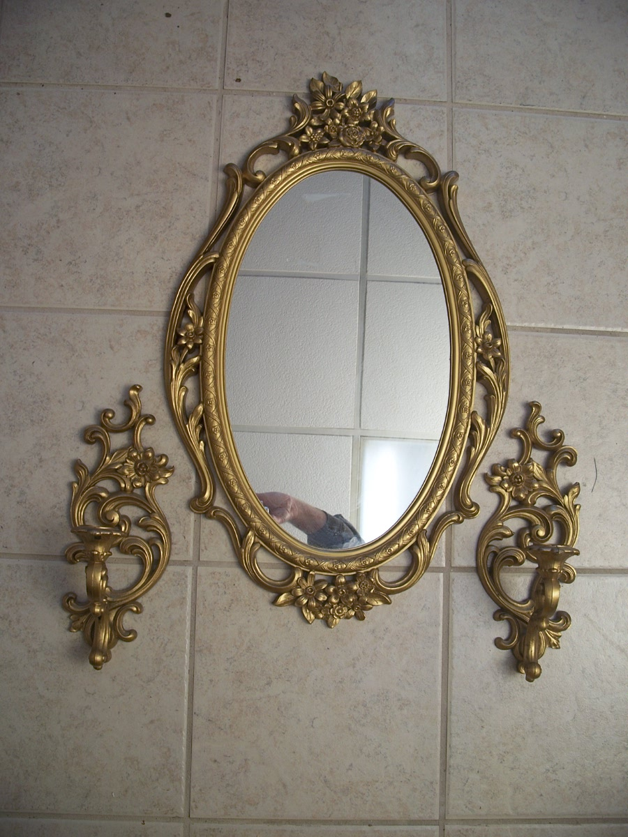 Vintage 3pc Gold Very Ornate Mirror Candle Set