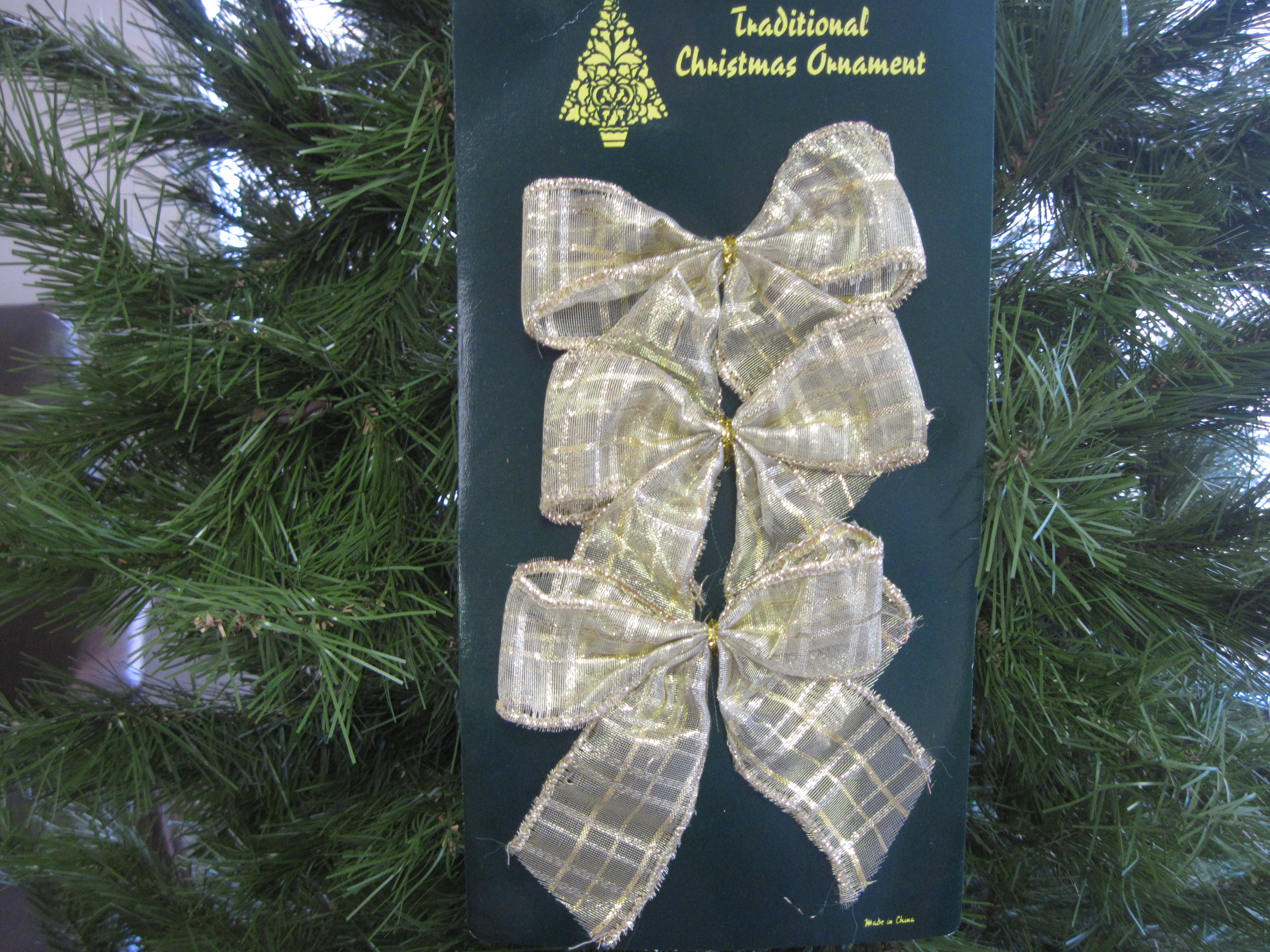 Set of 3 Small Christmas Bow Ornaments - Clear & Gold