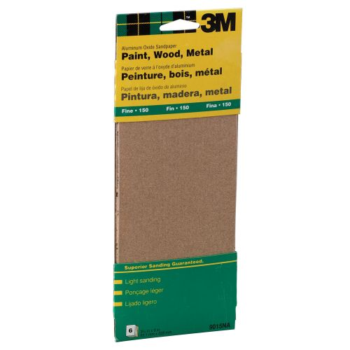 "3M 9"" Fine Paint, Wood, Metal Sandpaper Third Sheets - 9015NA"