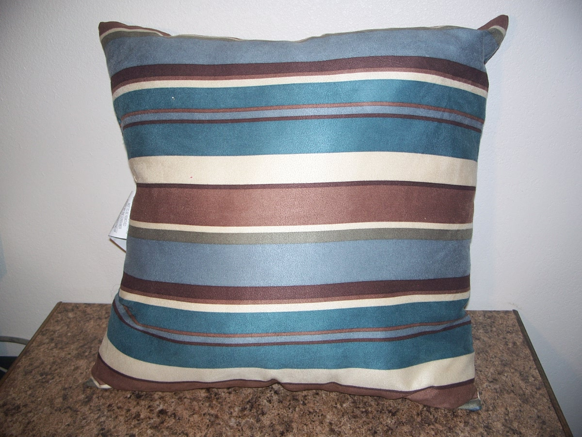 Brown,Tan,Blues Striped Couch Pillow