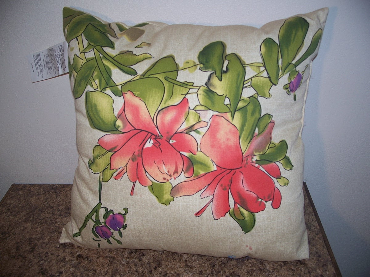 Decorative Pillow Flower Print (orange,purple,green.tan)