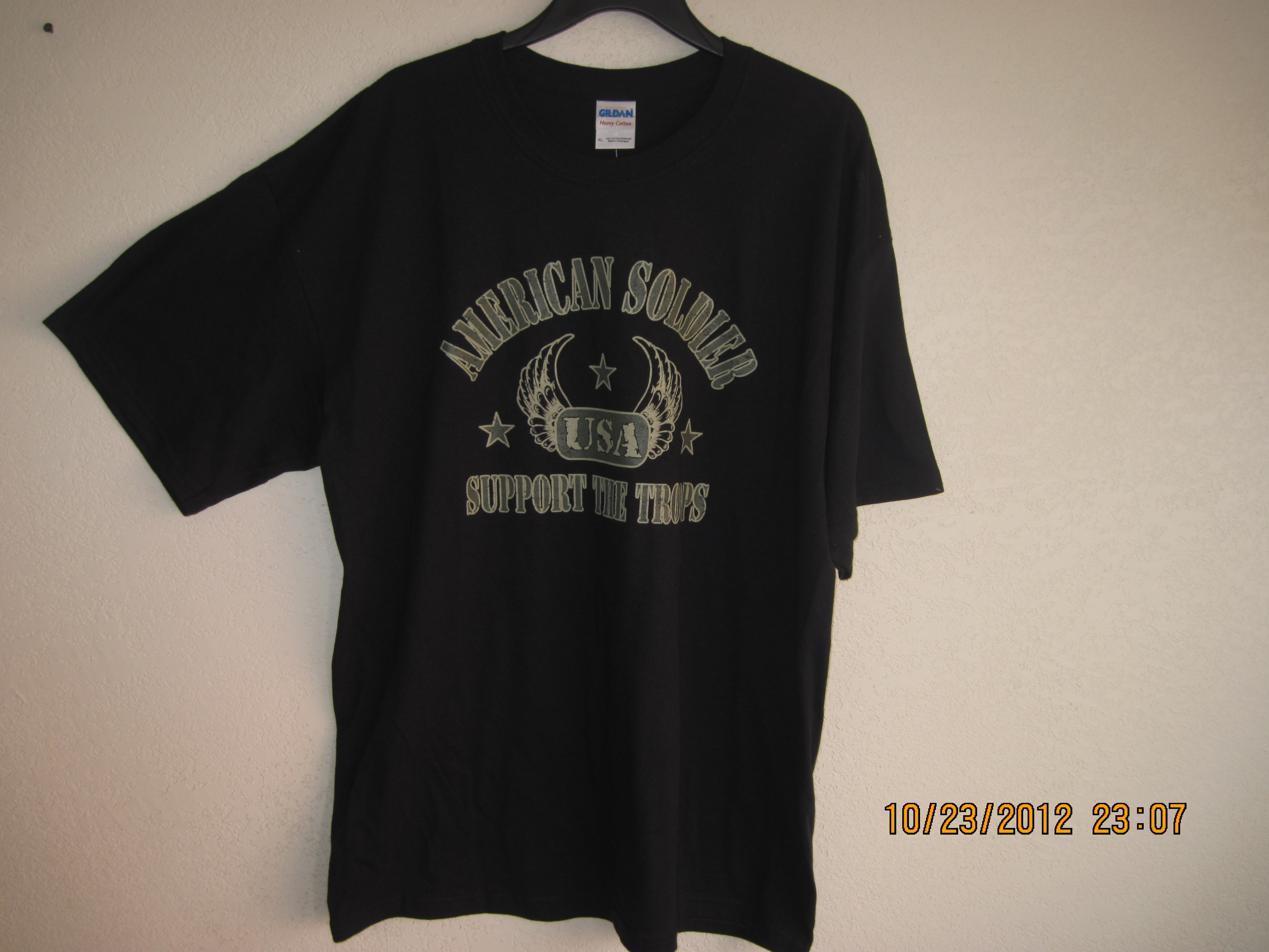 American Soldier Support The Troops Shirt Black & Gold