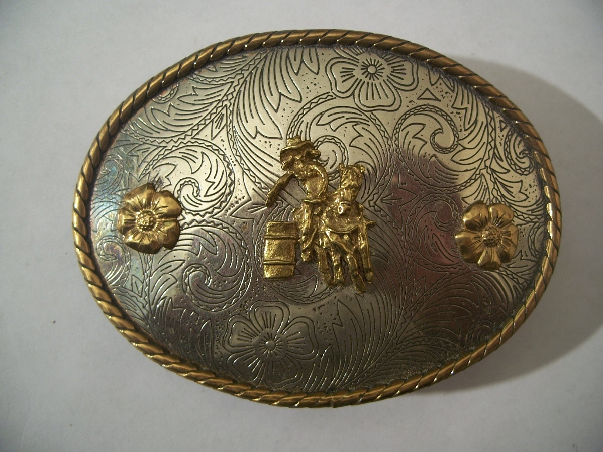 Vintage Western Barrel Racer Cowgirl Belt Buckle