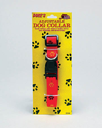 DUKES ADJUSTABLE PAWS DOG COLLAR RED