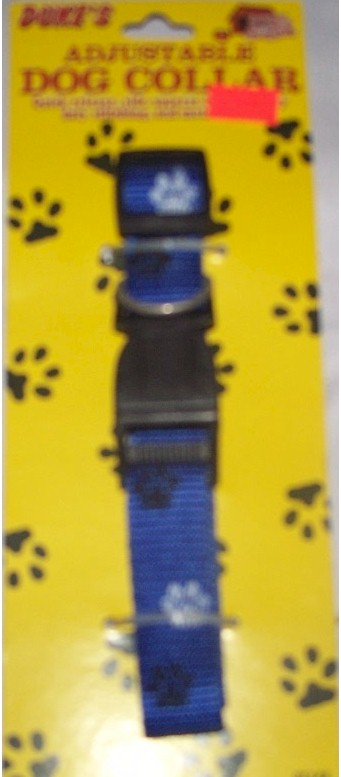 "10"" Adjustable Woven Dog Collar BLUE"