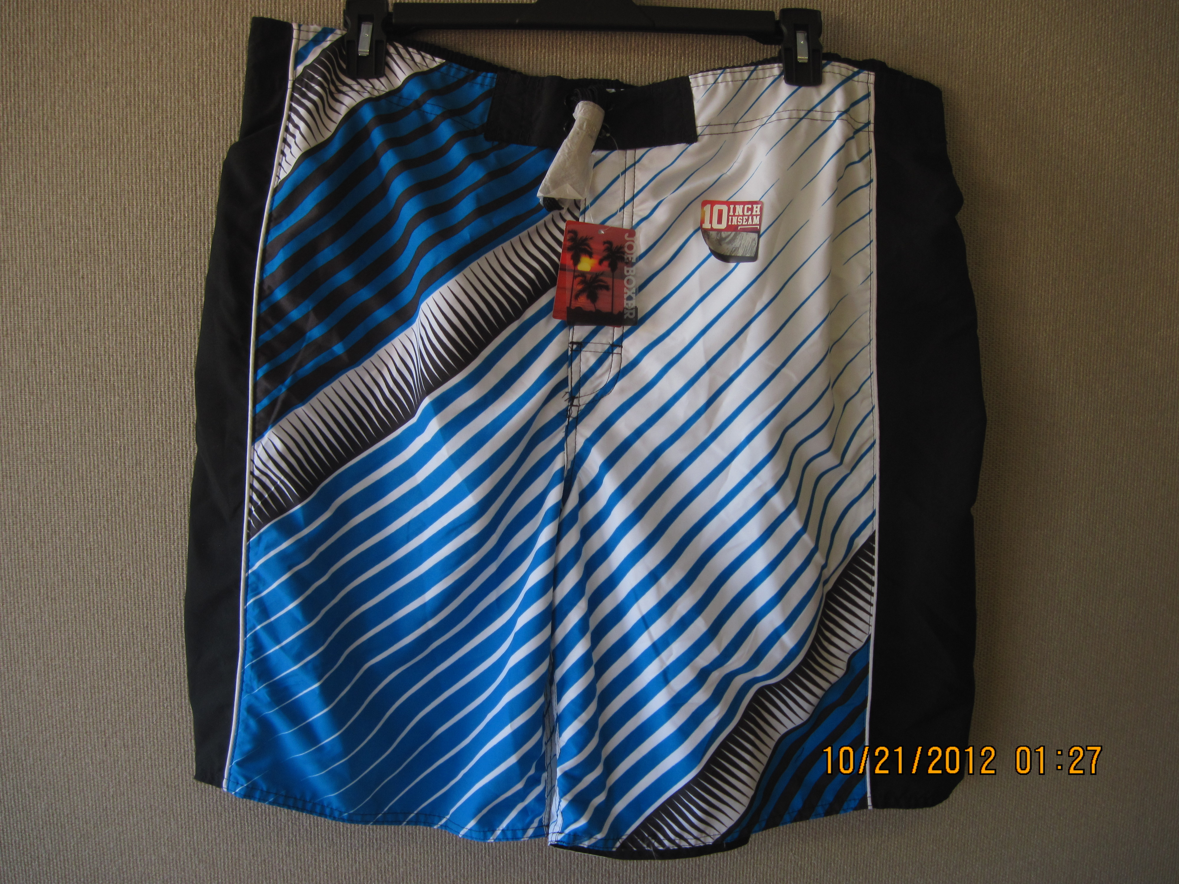Joe Boxer Sz XXL Diagonal STP Black,White,Blue Swim Shorts