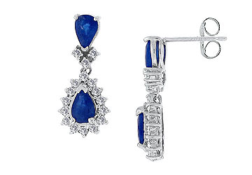 Blue Sapphire and Diamond Earrings 14K White Gold - 2.50 CT TGW