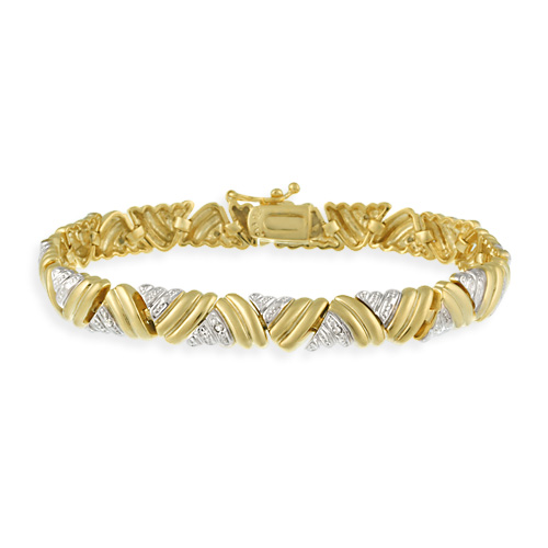 18K Gold over Sterling Silver Diamond Accent Two-Tone Large Tria