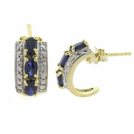 18K Gold over Stelring Silver Sapphire Diamond Accent Oval
