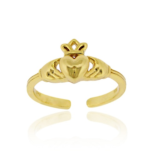 18K Gold over Sterling Silver Claddagh Toe Ring