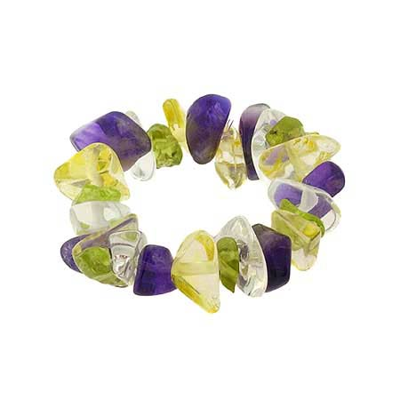 Genuine Amethyst Peridot Citrine Crystal Chip Ring (one size Fit