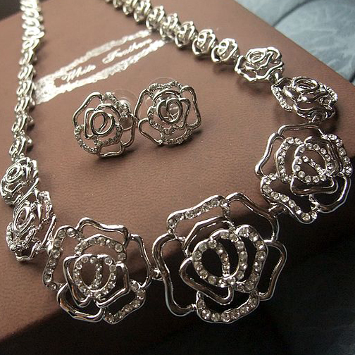 White K Alloy Plated Rose Necklace for Women's Styles Bridal Jew