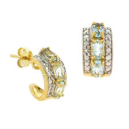 18K Gold over Stelring Silver Blue Topaz Diamond Accent Ov