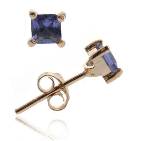 18K Rose Gold over Sterling Silver Tanzanite CZ 4mm Square Stud