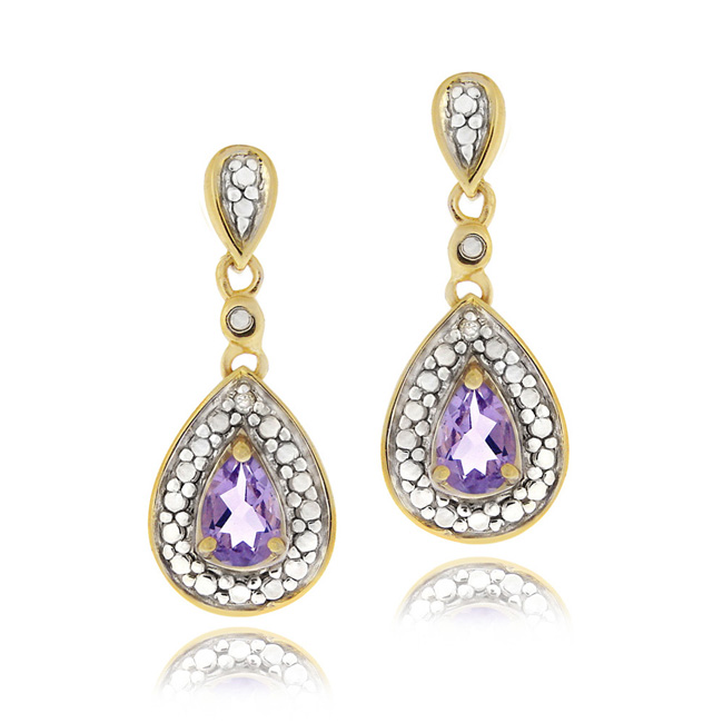 18K Gold over Sterling Silver Amethyst Diamond Accent Tear