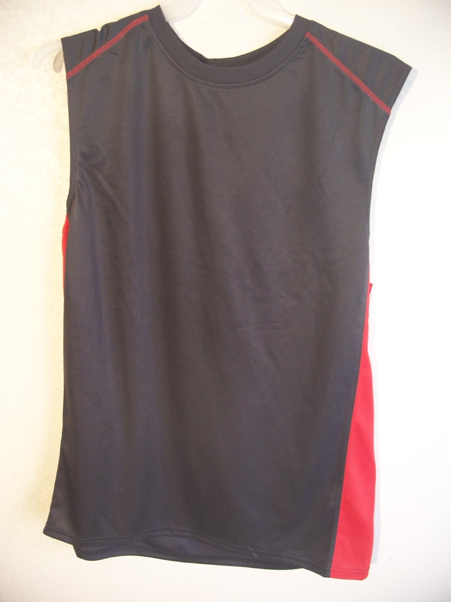 Open Trails Sz L Gray with Red down sides Sleeveless
