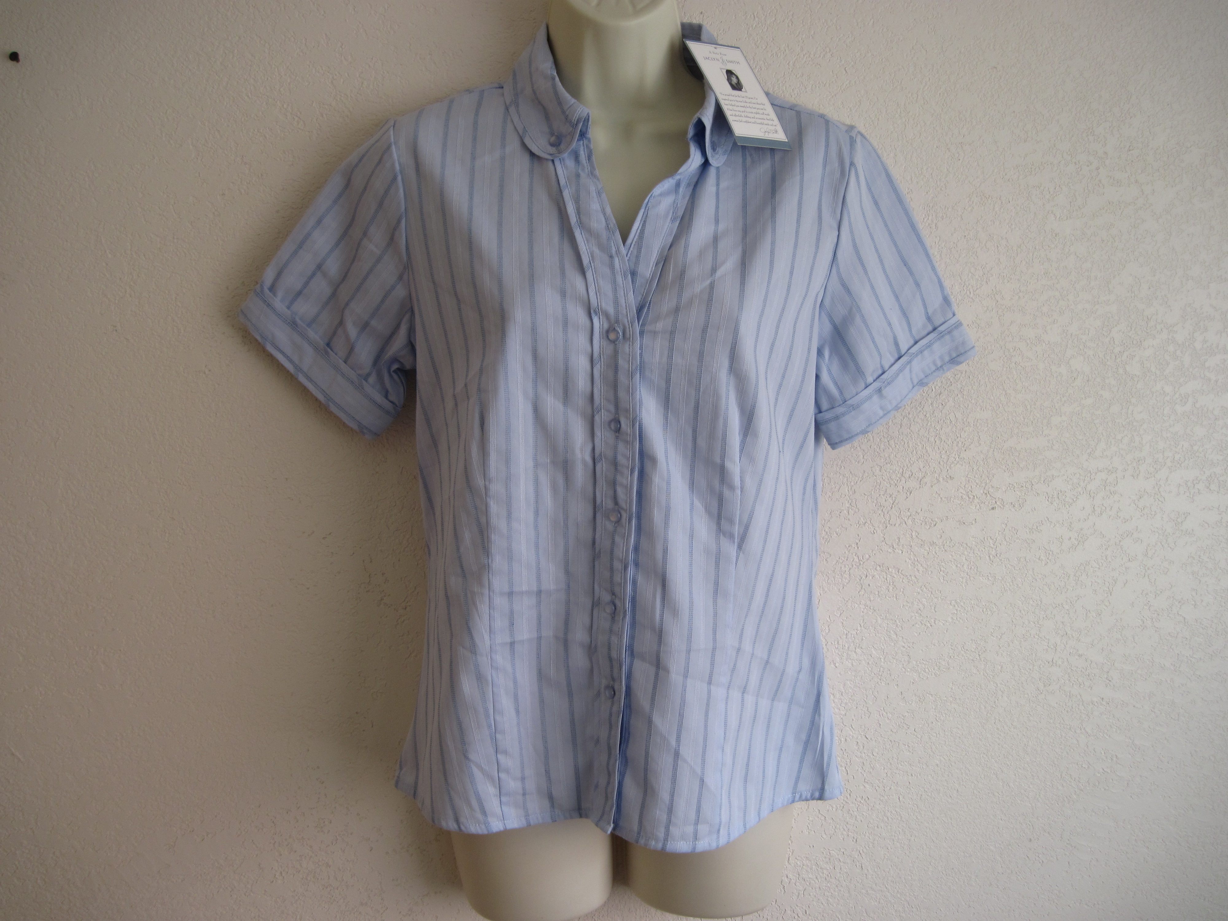 Jaclyn Smith Sz S Womens Light Blue with Stripes