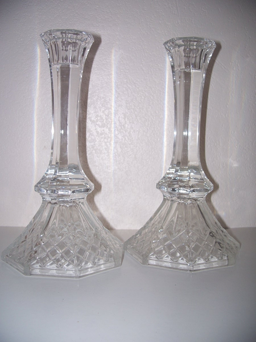 Crystal Taper Candlesticks Pair Candle Holders