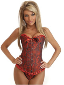 Strapless Embroidered Corset Red XL