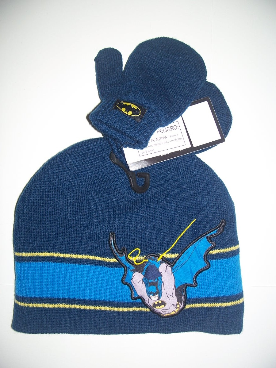 NWT BATMAN BOY AUTHENTIC WINTER HAT WITH MITTES ONE SIZE