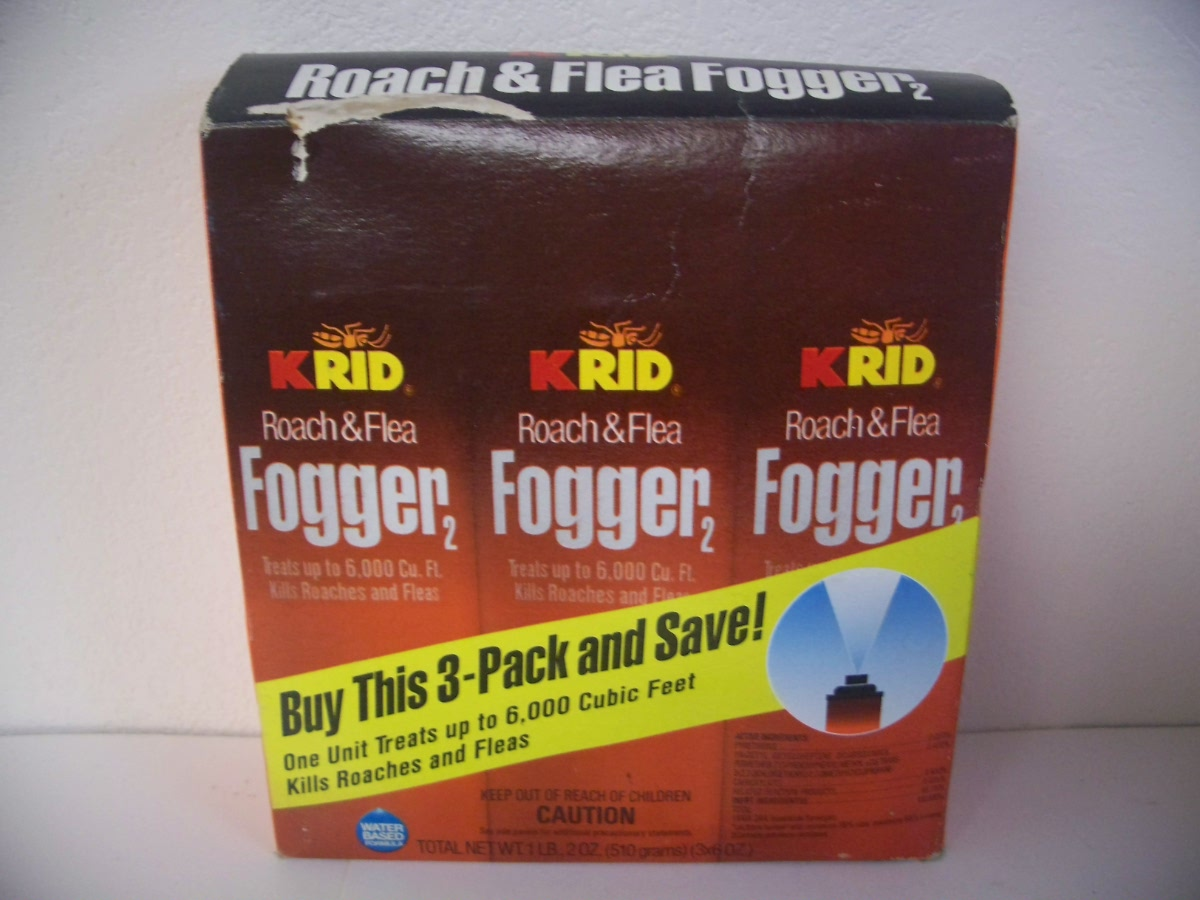 KRID Roach & Flea FOGGER 3 pk 6 oz Each can treats 6,000 cu ft