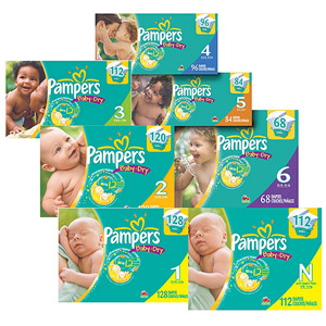 Pampers - Baby Dry Diapers, Super Pack (Choose Your Size)