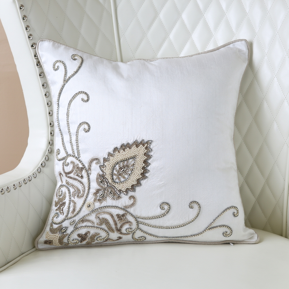 "Bead Embroidered Pillow - 16"" x 16"""