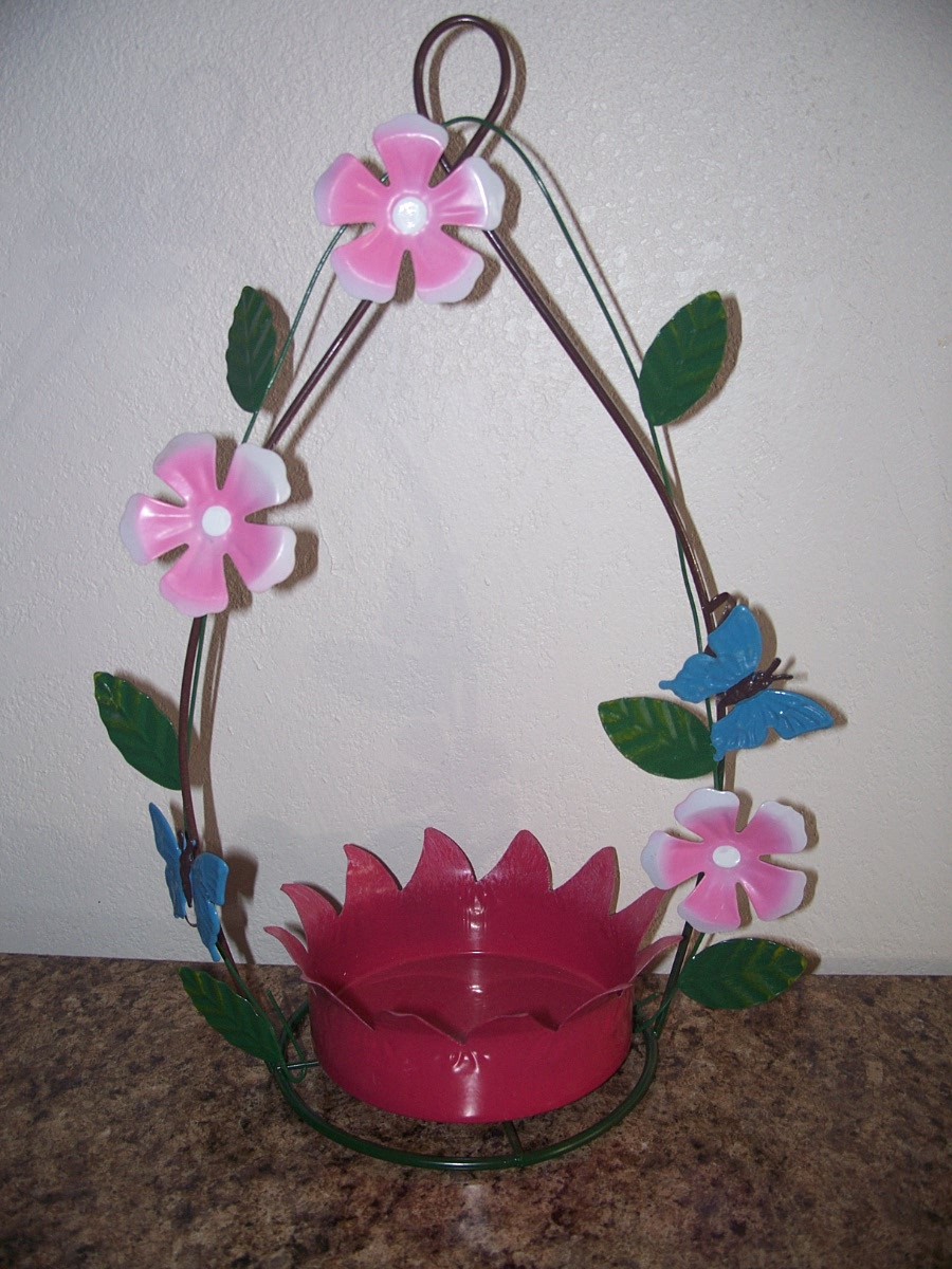 Bird Feeder (Pink flower,green leafs,Blue Butterflies )