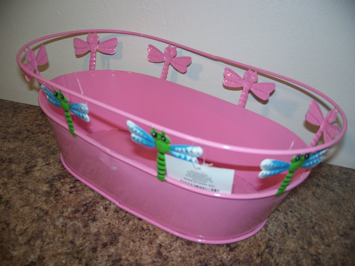 Metal Oval Planter (pink with dragonflies )