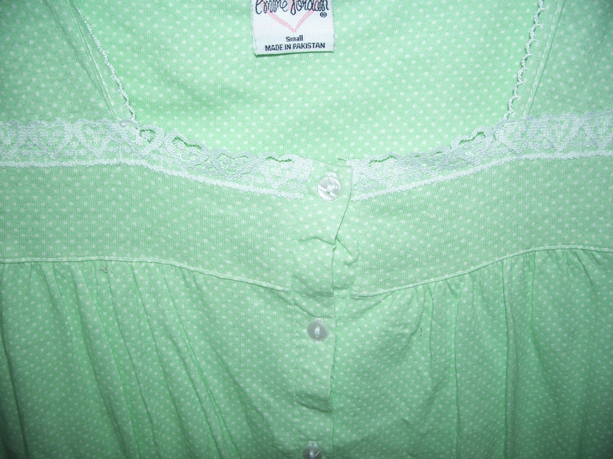Sz S 6 Sleepwear Green With White Dots One Piece