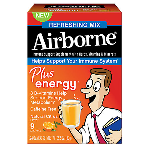 Airborne Plus Energy Natural Citrus Immune Support Supplement, 0