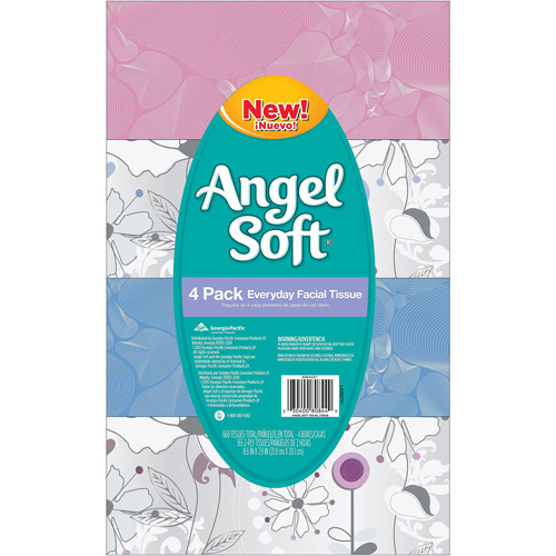 Angel Soft Everyday Facial Tissue, 165 count, (Pack of 4)