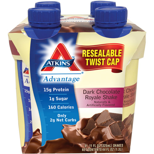 Atkins Advantage Dark Chocolate Royal Shake, 11 fl oz, 4ct