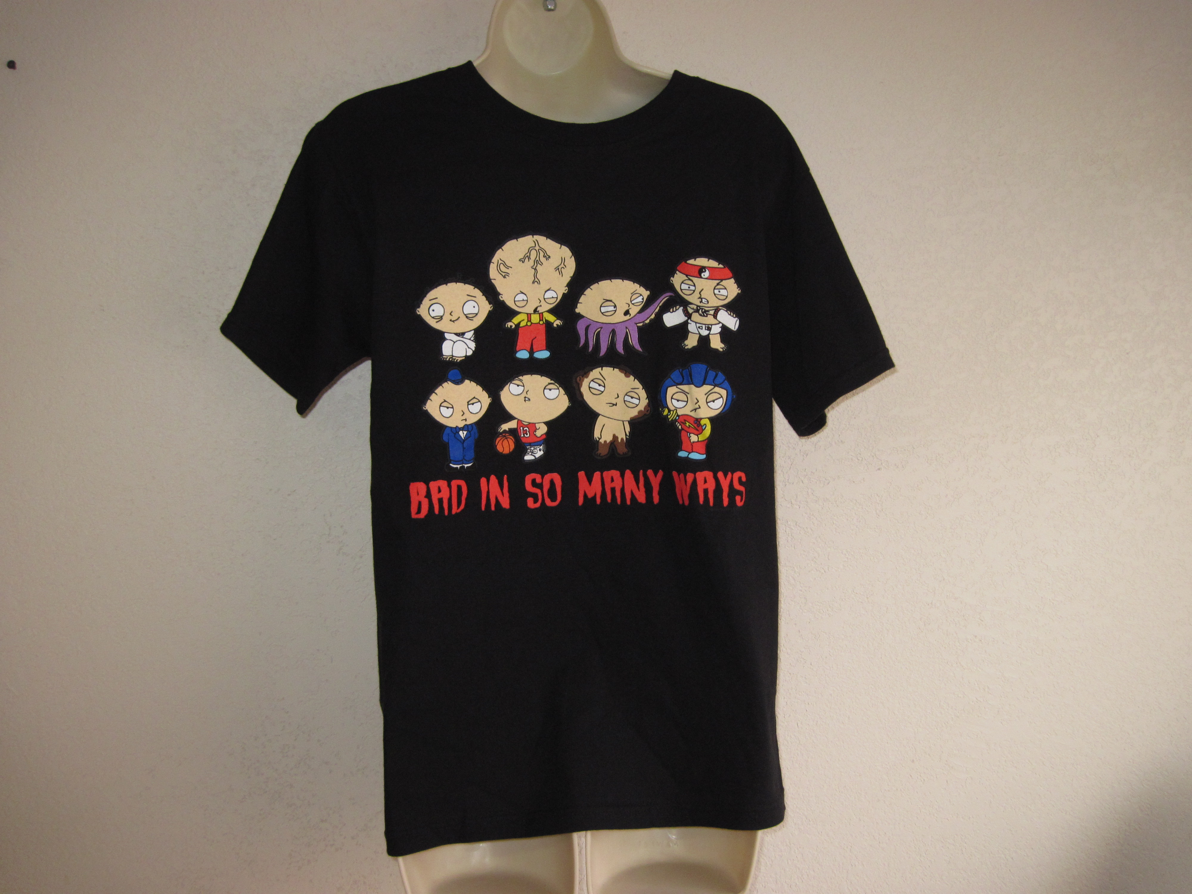 Family Guy Sz S T-Shirt Black with Bad in so many ways