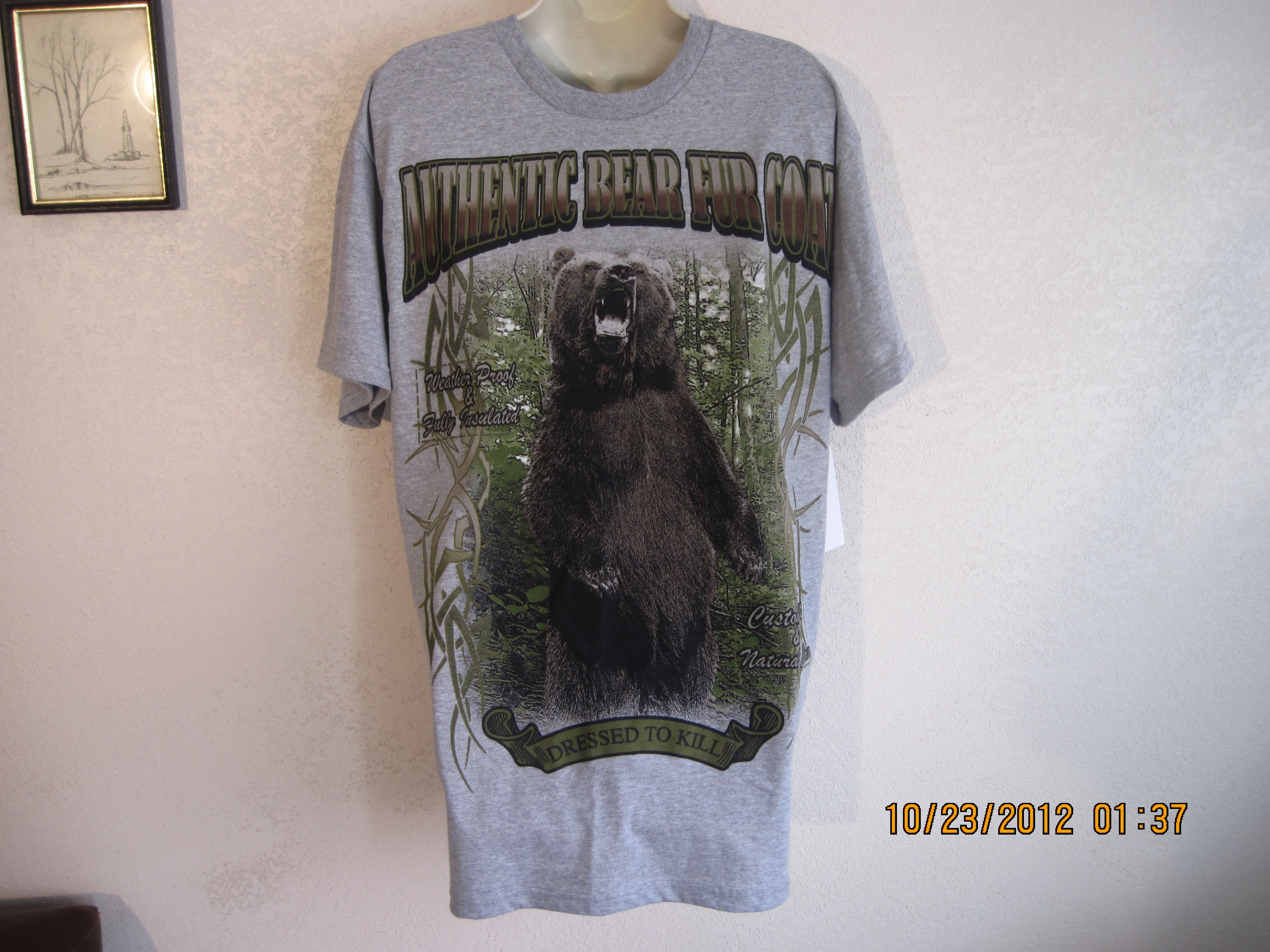 "Hudson Creek Sz L ""Dressed To Kill"" T-Shirt(grey)"
