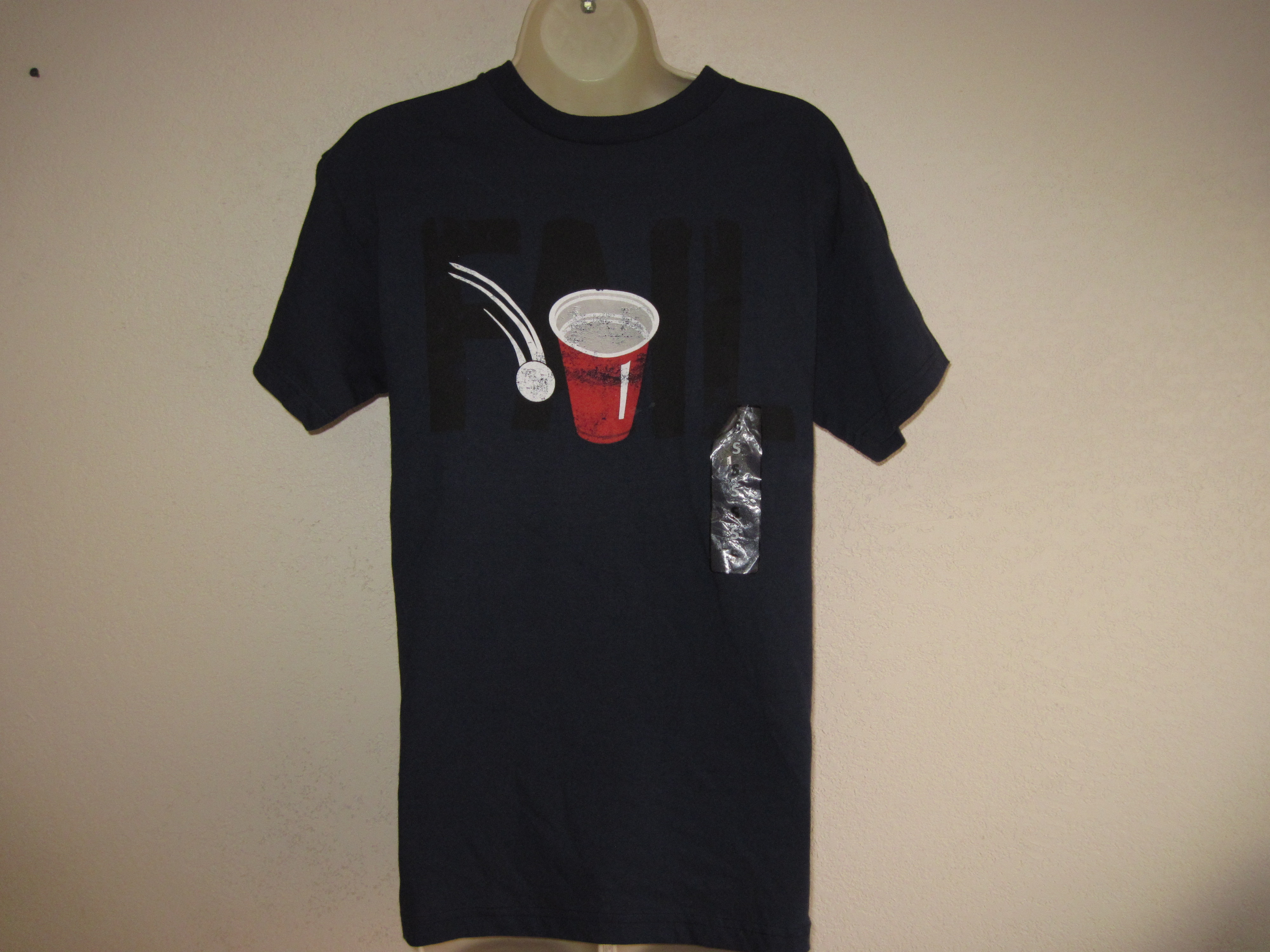 Delta Pro Weight Sz Small Short Sleeve Tee navy blue, beer pong