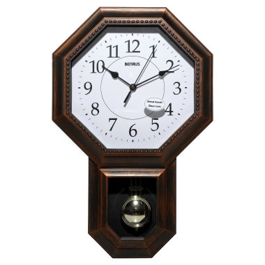 Benrus Schoolhouse Wall Clock With Pendulum