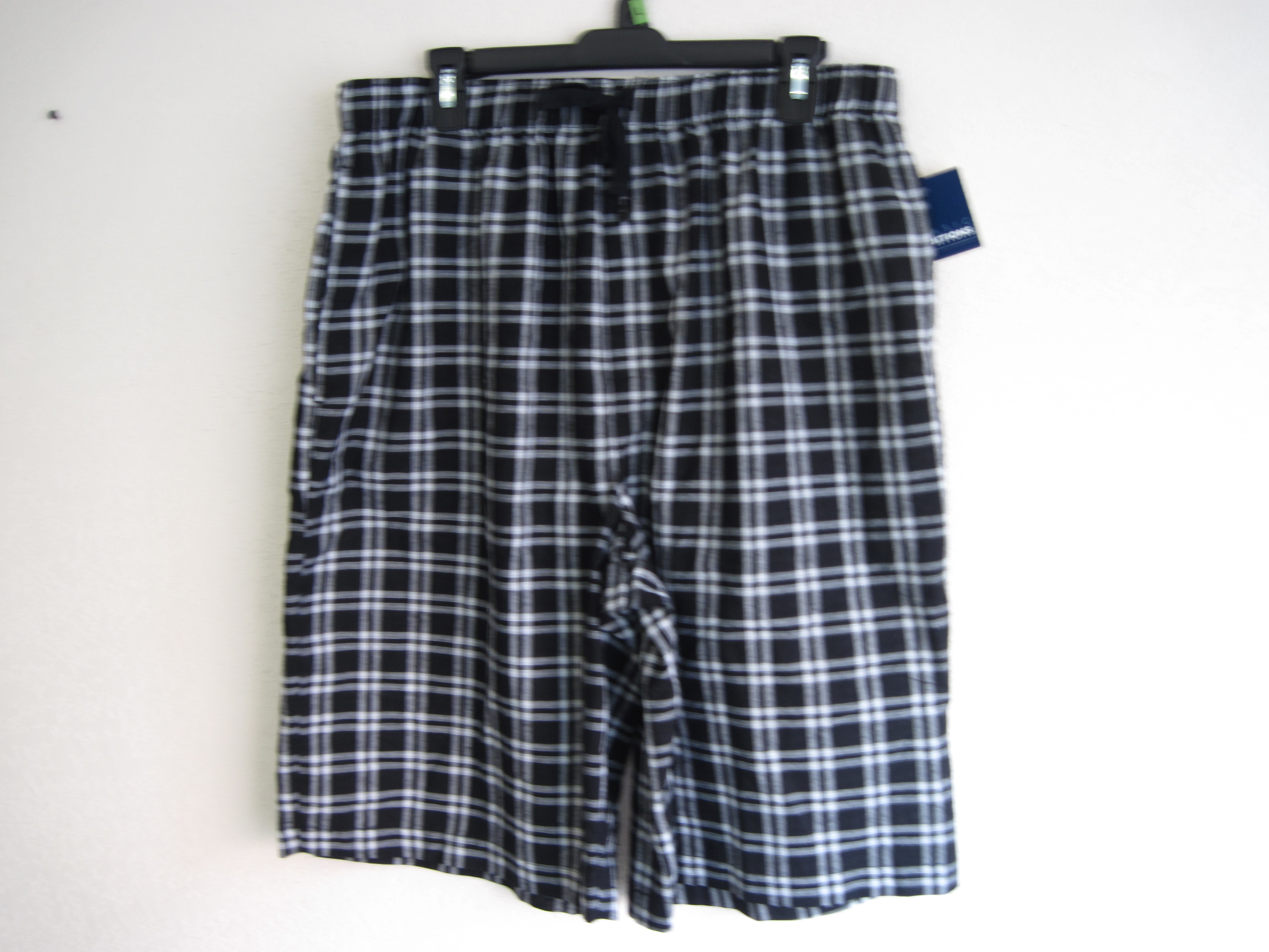 Basic Editions Sz Lg Mens Sleep Shorts (black & white squared)