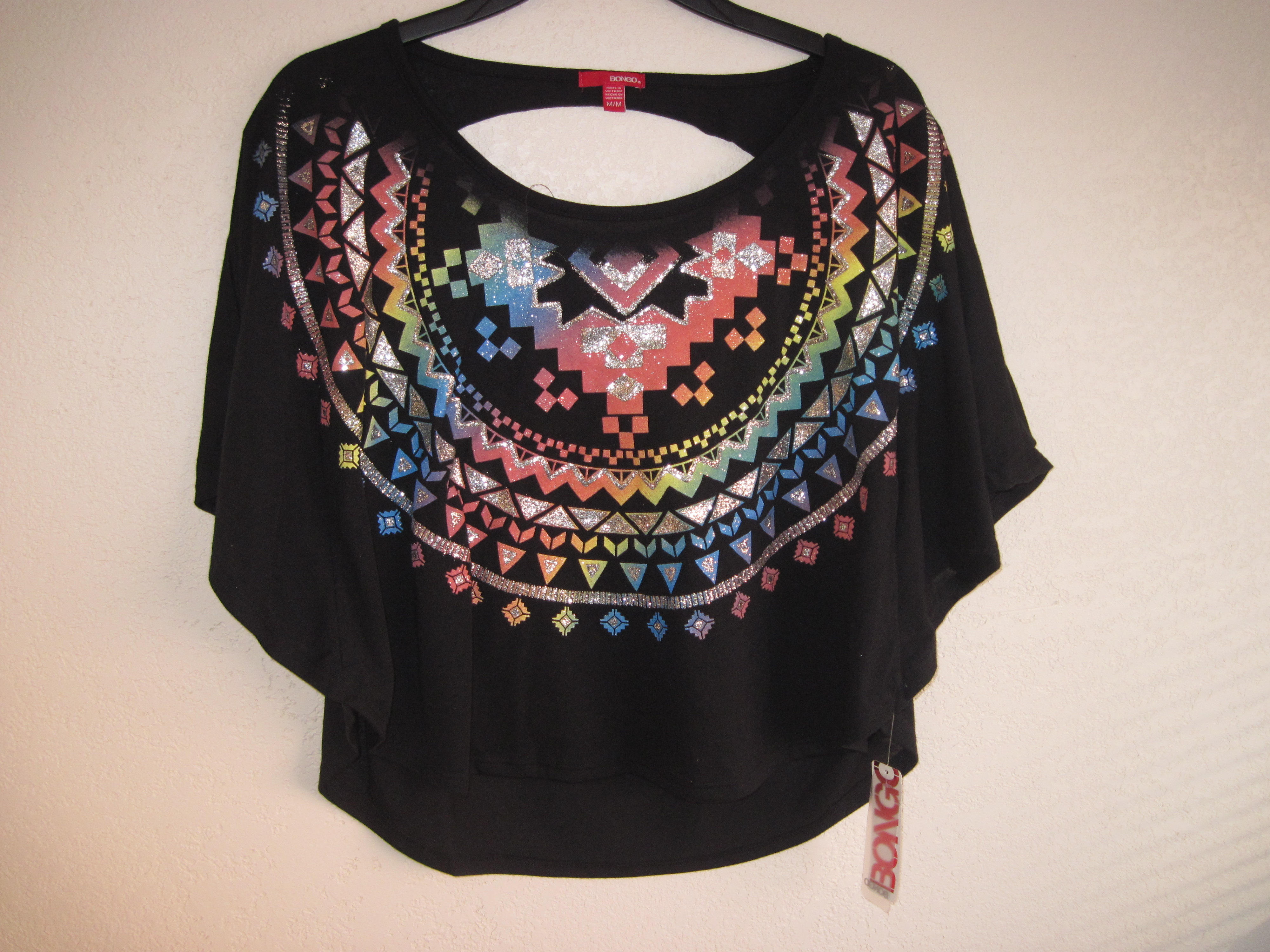 Bongo Sz M Juniors Tribal Print Poncho Top black
