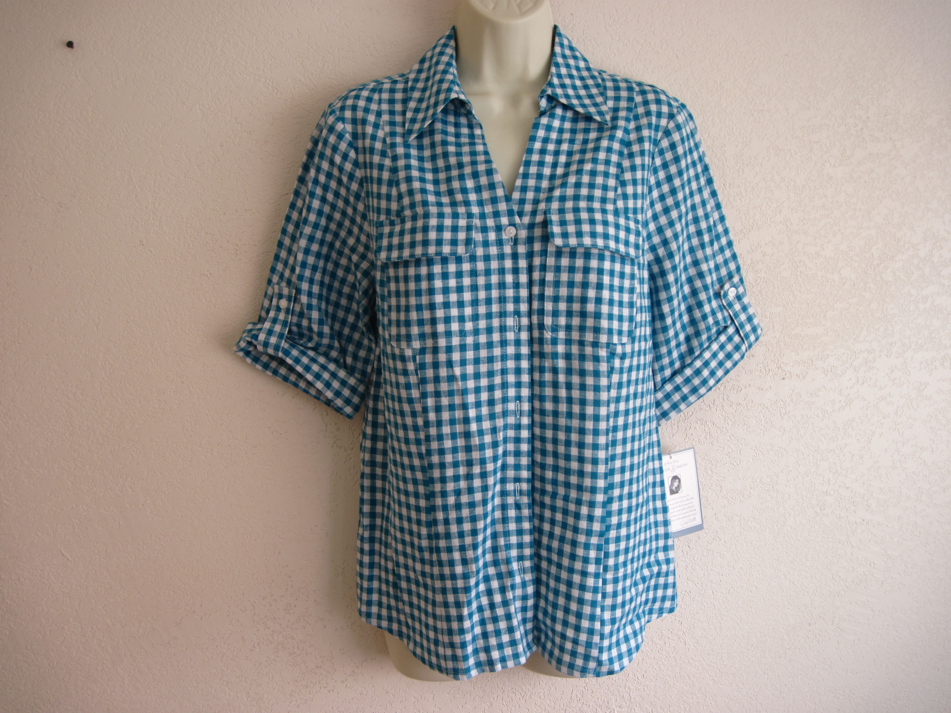 Jaclyn Smith Sz S Womens Shirt Shop Linen