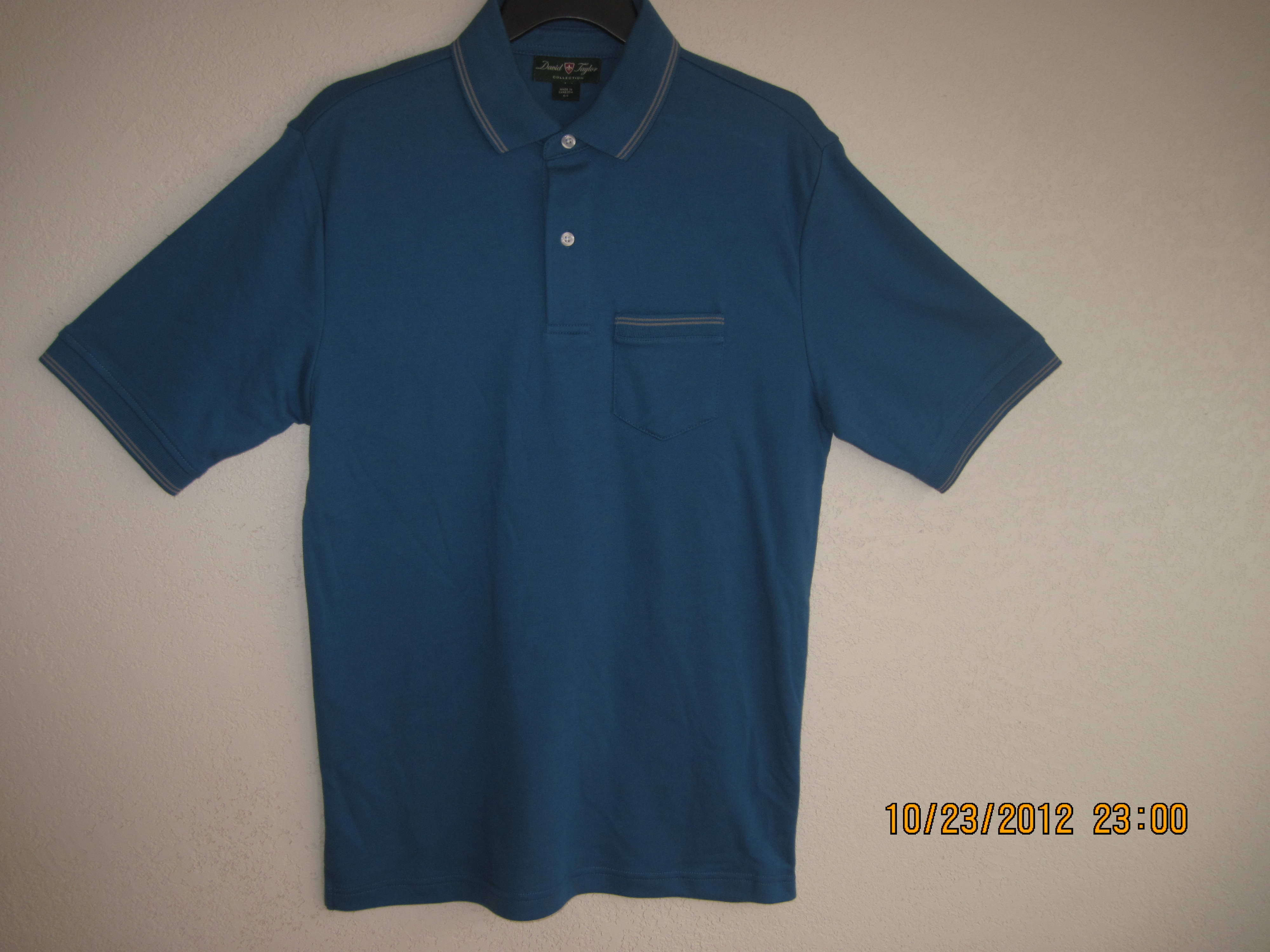 David Taylor Sz S Mens Tipped Polo Shirt (Blue & Gray)