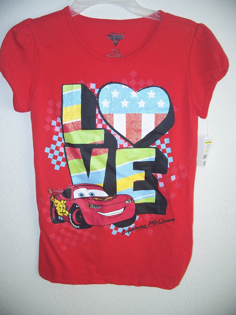Sz Medium 7/8 Red CARS T-Shirt(love)