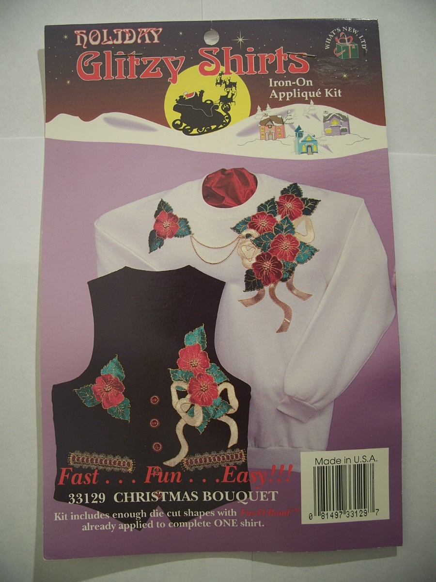 Holiday glitzy shirts iron on applique kit Christmas Bouquet