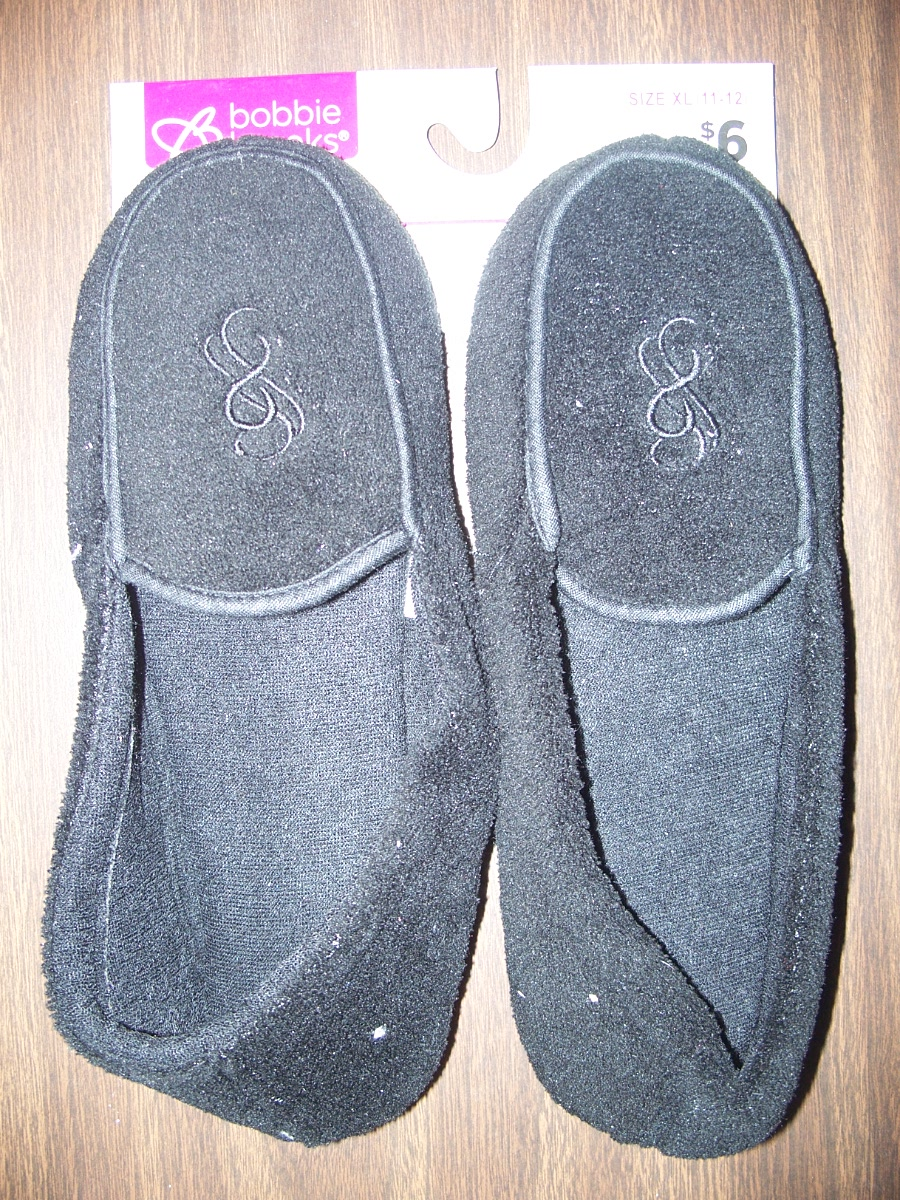 Sz XL 11-12 Black Comfort Slippers