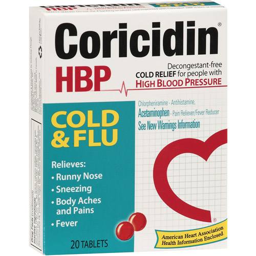 Coricidin HBP Cold & Flu Relief, 20ct
